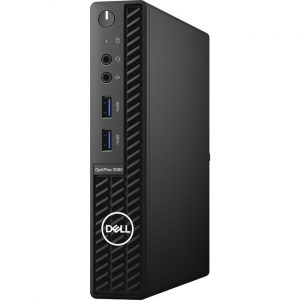 Dell OptiPlex 3000 3080 Desktop Computer - Intel Core i3 10th Gen i3-10100T Quad-core (4 Core) 3 GHz - 8 GB RAM DDR4 SDRAM - 128 GB SSD - Micro PC - Black