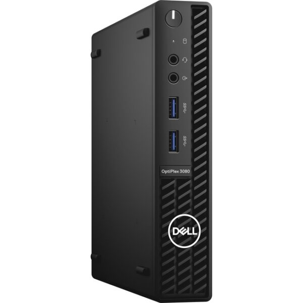 Dell OptiPlex 3000 3080 Desktop Computer - Intel Core i3 10th Gen I3-10105T Quad-core (4 Core) 3 GHz - 8 GB RAM DDR4 SDRAM - 128 GB NVMe M.2 PCI Express M.2 SSD - Micro PC - Black